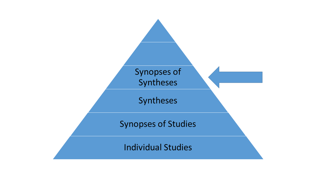 Synopses of syntheses can be found on ACP Journal Club, DARE, EBN, EBM, and InfoPOEMs.