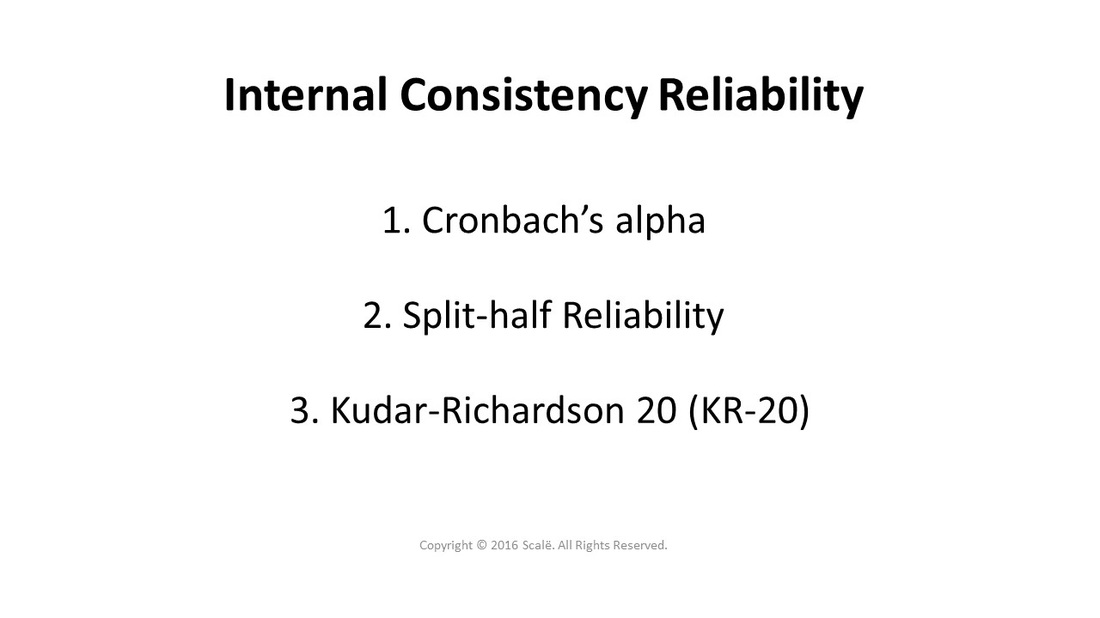 There are three types of internal consistency reliability: Cronbach's alpha, split-half reliability, and Kudar-Richardson 20 (KR-20).