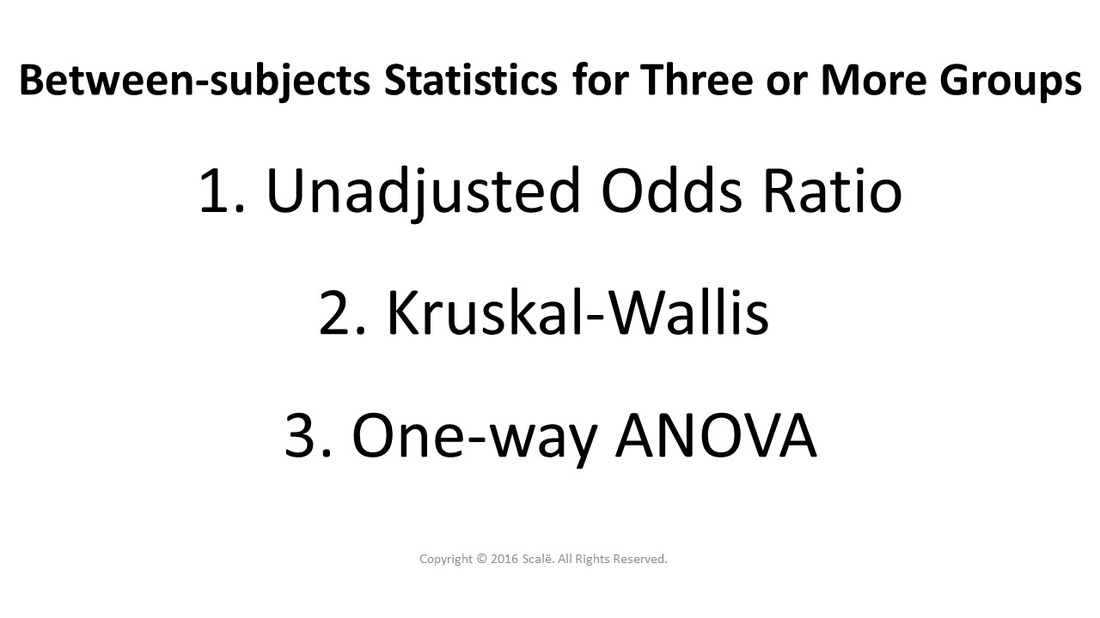 There are three between-subjects statistics for three or more groups: Unadjusted odds ratio, Kruskal-Wallis, and One-Way ANOVA.