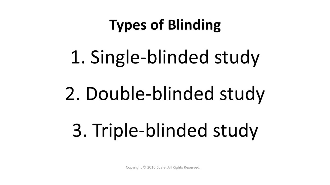 There are three types of blinded research studies: Single-blinded, double-blinded, and triple-blinded.