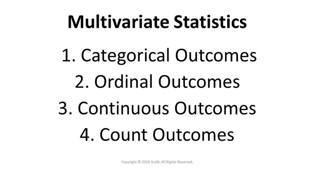Multivariate statistics are chosen based on the type of outcome being used: Categorical outcomes, ordinal outcomes, continuous outcomes, and count outcomes.
